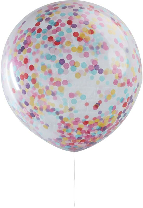 Ginger Ray Pick & Mix - XL ballon gevuld met multicolor confetti Ø 90 cm - Set-3 Valentinaa