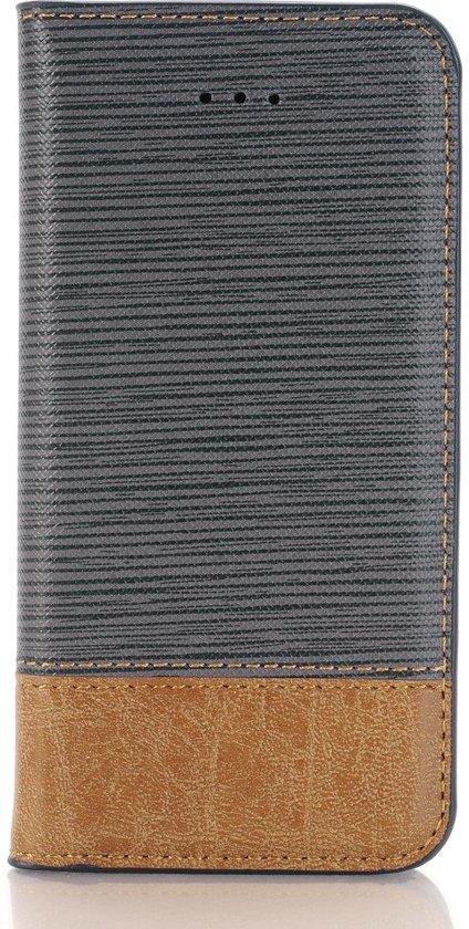Shop4 - iPhone 7 Cover - Wallet Case Denim en Leer Grijs in Wamberg