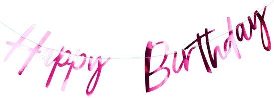Ginger Ray Good Vibes 'Happy Birthday' verjaardag slinger - Metallic roze - 2 meter Valentinaa