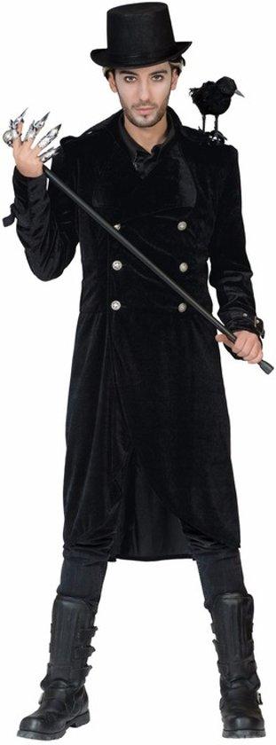 Halloween - Gothic zwarte lange jas met gespen 48-50 (S/M)