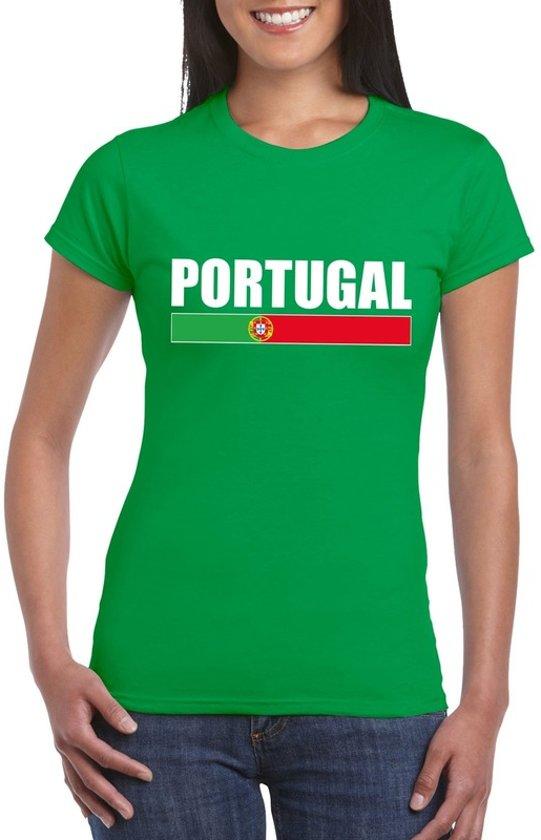 Groen Portugal supporter t-shirt voor dames S