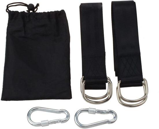 Boomvriendelijke koord voor hangmat, hangstoel of schommel | Bevestigingsset inclusief haken |  Schommelophangset | 150 cm | Tot 700 kg | Set van 2