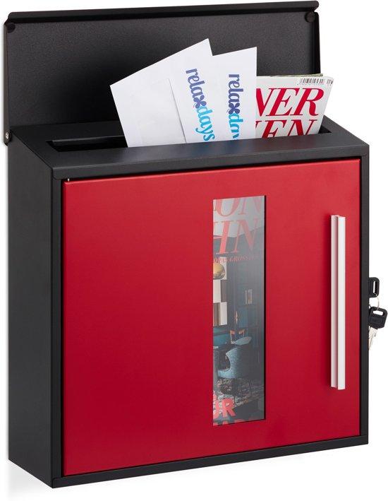 relaxdays brievenbus afsluitbaar - met venster - wandbrievenbus - modern design wandmodel zwart-rood