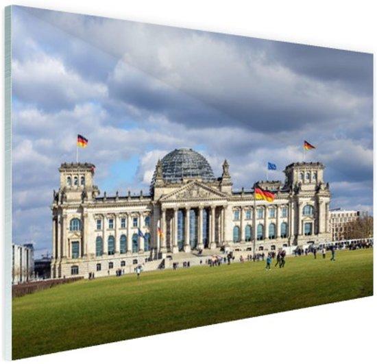 Reichstag gebouw bewolkt Glas 120x80 cm - Foto print op Glas (Plexiglas wanddecoratie)