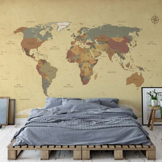 Fotobehang Sepia World Map | V4 - 254cm x 184cm | 130gr/m2 Vlies