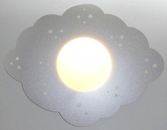 Funnylight kinderlamp wolk zilver -sky line met glow in the dark sterretjes