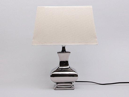 Tafellamp ''Geneve'' 42 cm Zilver met Creme kap
