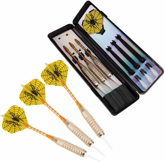 #DoYourDart - 3x Soft Dartpijlen - »YellowSpider« -  incl. case voor opslag + 6x PET Dart flights - perfecte grip, ijzeren barrel | Aluminium shaft gewicht dart: 17.7g - goudkleurig