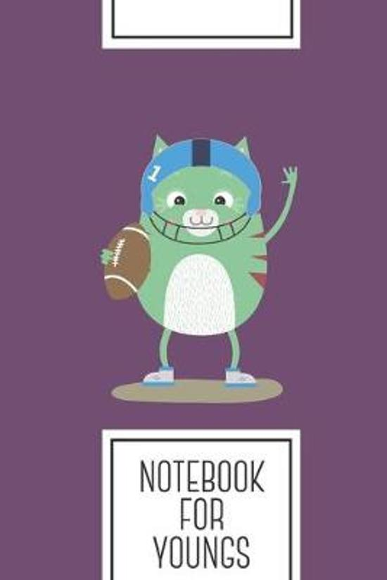 Notebook for Youngs: Lined Journal with Football cute Cat Design - Cool Gift for a friend or family who loves mammal presents! - 6x9'' - 180