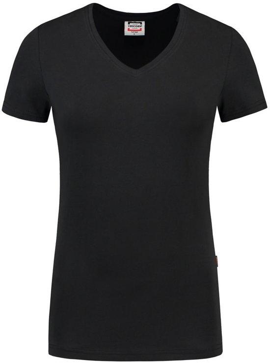 Tricorp Dames T-shirt V-hals 190 grams - Casual - 101008 - Zwart - maat XS