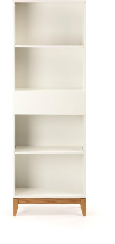 Boekenkast Wit Met Lade.Blance Boekenkast Met 4 Planken En 1 Lade In Wit Met Massief Eiken Poten