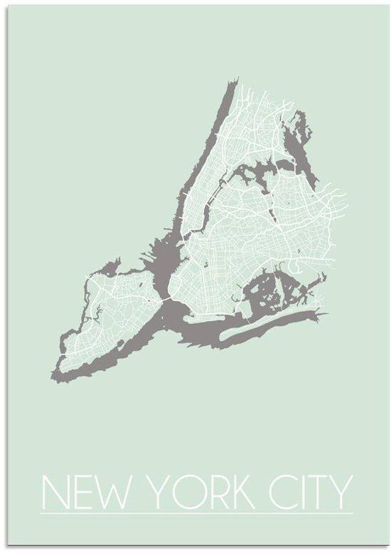 Plattegrond New York City Stadskaart poster DesignClaud - Pastel groen - A4 + Fotolijst zwart