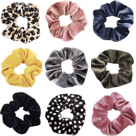 Afbeelding van Scrunchie 9 stuks Velvet Extra Vol en Luxe - haarelastiek haarwokkel scrunchies - oudroze - blauwgrijs - geel - grijs - groen - zwart - roze - zwart met witte stippen - panterprint bruintinten - Kraagjeskopen.nl