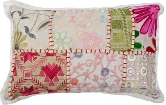 Kussen Wit 9 : Bol kussen india patchwork wit cm