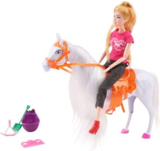 Paard met pop - Geschikt voor Barbie - Met accessoires