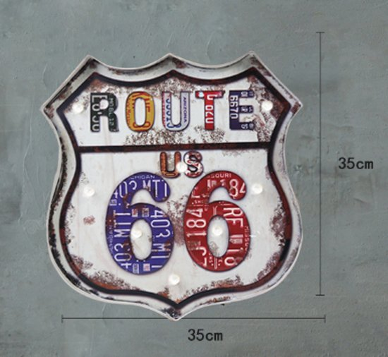Retro Led Sign Route 66 wit