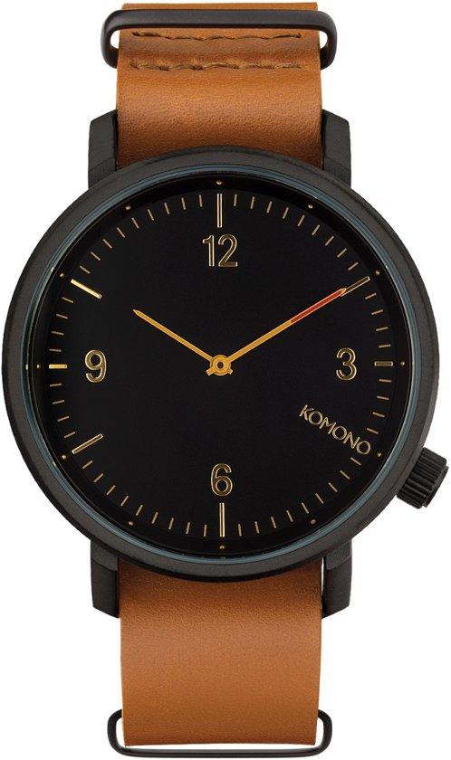Komono Magnus II Black Cognac Horloge