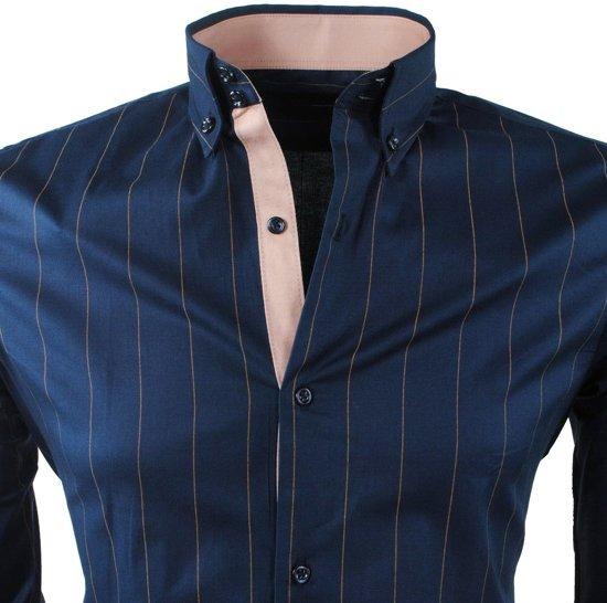 Navy MontazinniHeren Bruin Overhemd Stretch Gestreept n0wmNyOv8P