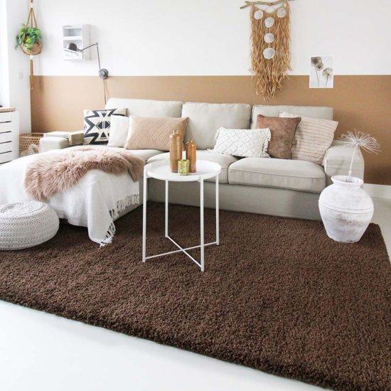 Hoogpolig vloerkleed shaggy Trend effen - bruin 100x200 cm
