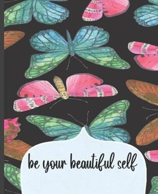 Be Your Beautiful Self: Dot Grid Journal, Dot Grid Notebook, Colorful Butterfly in Black Background Cover, 100 Pages, 7.5 x 9.25''