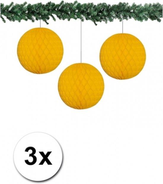 3x decoratie bal goud 10 cm
