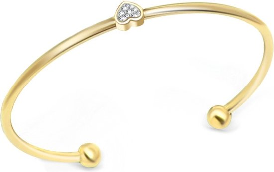 Fashion Favorite Bangle Swarovski Elements Hartje | Goudkleurig Staal PVD Armband