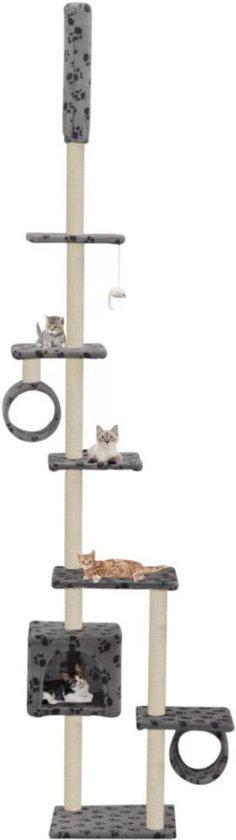 Kattenkrabpaal met sisalpalen 260 cm pootafdrukken grijs