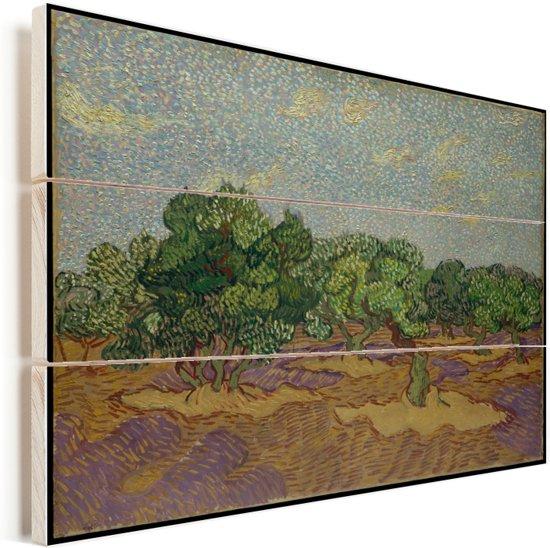 Olijfbomen - Schilderij van Vincent van Gogh Vurenhout met planken 40x30 cm - klein - Foto print op Hout (Wanddecoratie)