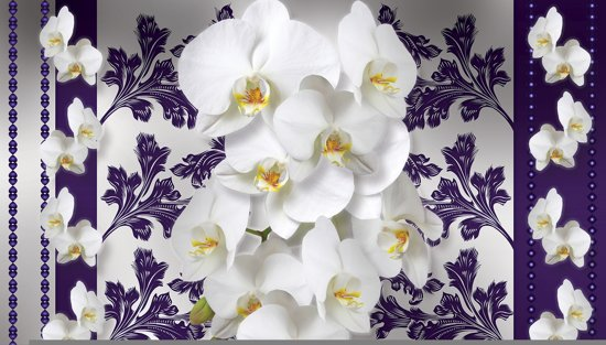 Fotobehang Bloemen, Orchideeën | Wit, Grijs | 416x254