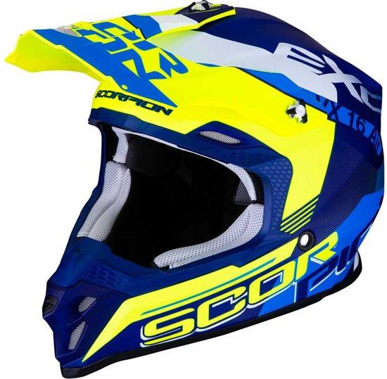 Scorpion Crosshelm VX-16 Arhus Matt Blue/Neon Yellow-XXL