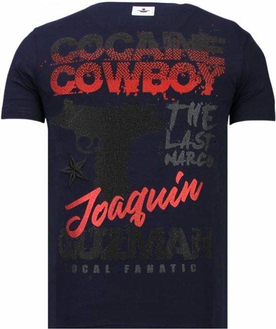 Local T Navy shirt Cowboy Cocaine Fanatic M Rhinestone Maten ZaRwIrZqF
