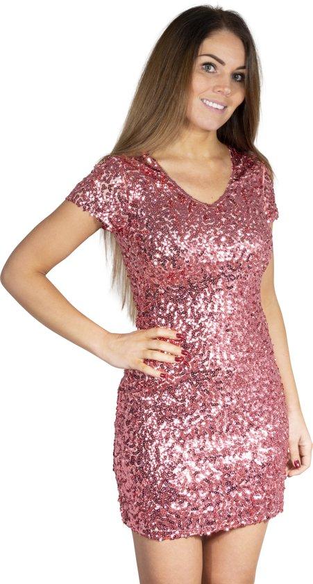 Pailletten jurkje zacht roze L