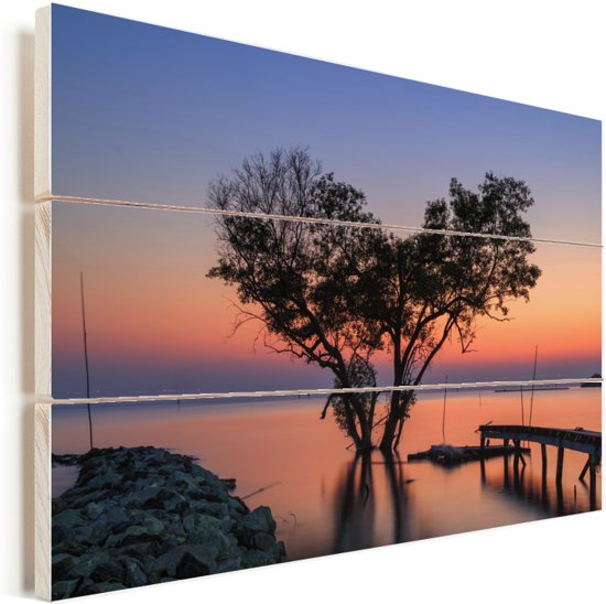 Boom en romantische zonsondergang Ko Tao in Thailand Vurenhout met planken 30x20 cm - klein - Foto print op Hout (Wanddecoratie)