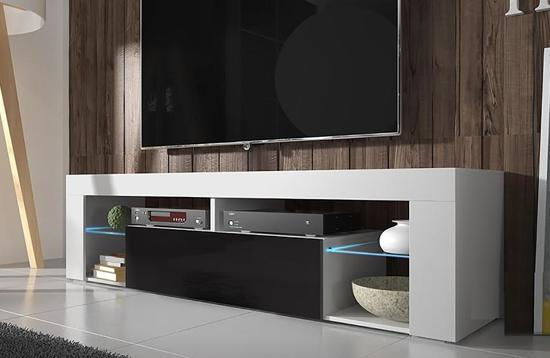 Tv Meubel Tv Kast Hugo Incl Led Body Wit Mat Front Hoogglans Zwart