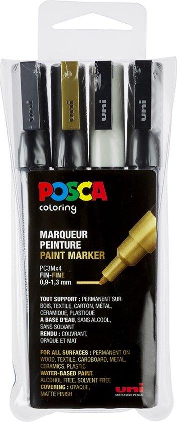 Posca stiften set 3M wit/zwart/goud/zilver
