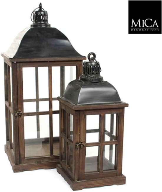 mica decorations - set van 2  lantaarn l31b31h66 bruin