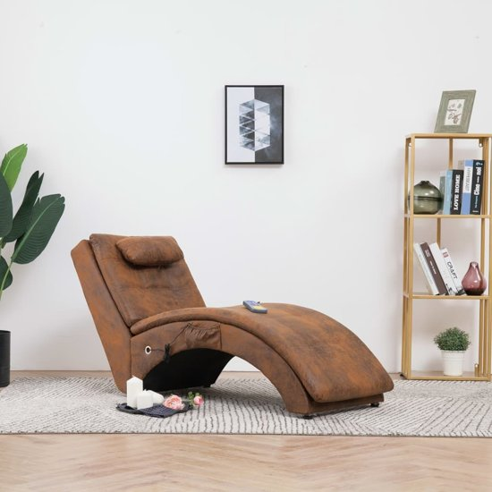 Bruine Leren Bank Chaise Longue.Massage Chaise Longue Bruin Kunst Suede Leer Chaise Loungebank Chaise Sofa Chaise Lounge Bank Chaise Longchair