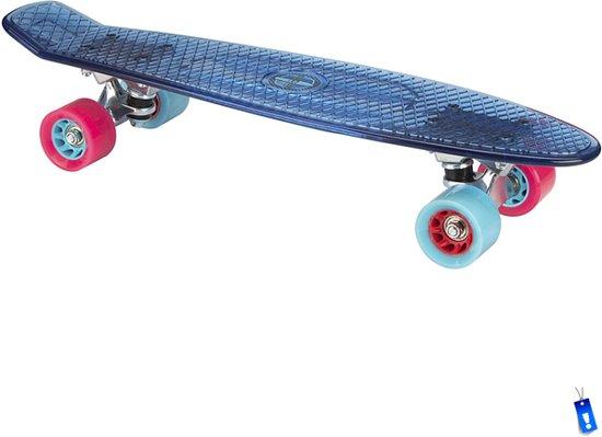 Penny Board Plastic Skateboard Retro Transparant - 57 cm - Blauw