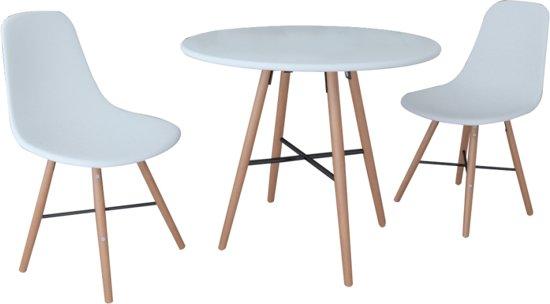 Bol.com eetkamerset met 1 ronde tafel en 2 stoelen wit