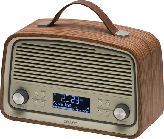 Denver DAB-38 DAB+/FM radio met alarmklok functie, Darkwood