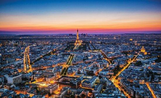 Fotobehang Parijs | Blauw | 312x219cm