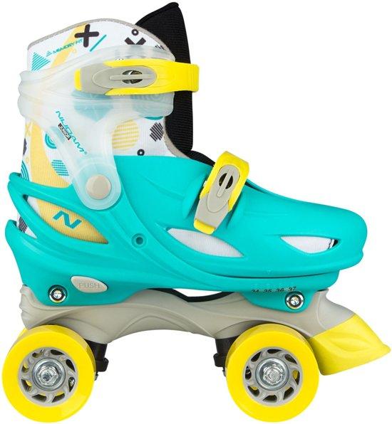 Nijdam Junior Rolschaatsen Junior Verstelbaar Hardboot - Rally Roller - Smaragd/Geel/Wit - 30-33