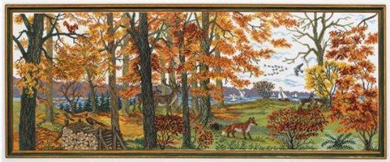 borduurpakket 12-835 herfstlandschap met bosdieren