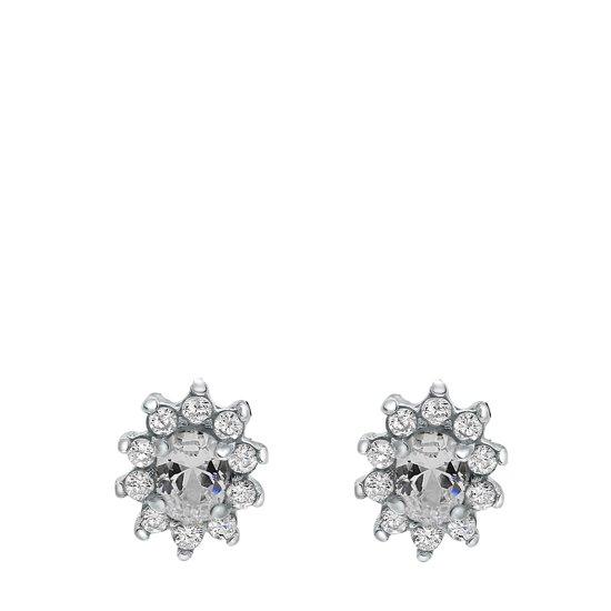 Lucardi - Zilveren oorbellen met smokey zirkonia