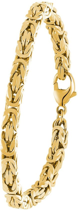 Lucardi - Goldplated herenarmband koningsschakel 21 cm