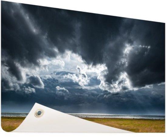 Onweerswolken Tuinposter 60x40 cm - klein - Tuindoek / Buitencanvas / Schilderijen voor buiten (tuin decoratie)