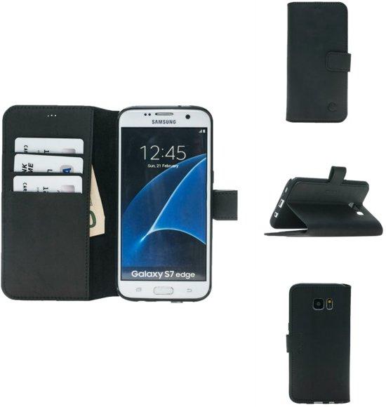 Celkani ® Telefoonhoesje voor Samsung Galaxy S7 Edge - Lederen book cover type hoesje met vastgelijmd zwarte behuizing  en magnetische sluiting - Antiek zwart echt leder - Kaartsleuven - Handgemaakt door ambachtslieden in Elversele