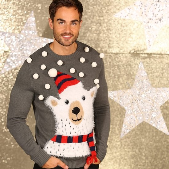 000a8e07492 bol.com   Kerst kleding - Foute grijze 3D kersttrui met ijsbeer L ...