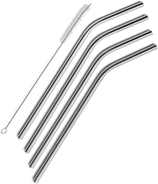RVS/Metalen rietje - 4 stuks - 1 borsteltje - Ideaal Voor Warme En Koude Dranken - Herbruikbaar - Duurzaam