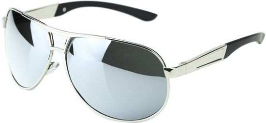 7bb21eeae48944 Stoere retro aviator zonnebril zilver spiegel